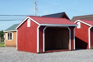 Red run-in horse shed