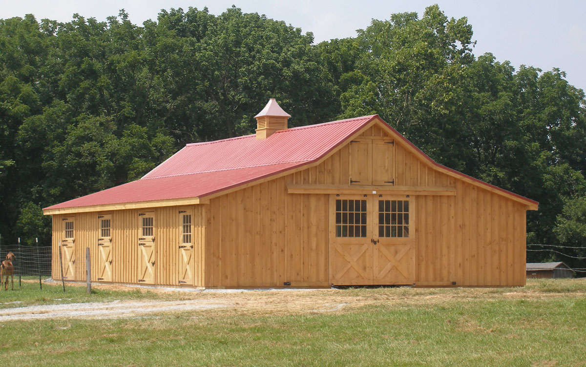 Horse barn with board and batten siding